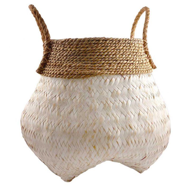 White Wash Bamboo Basket