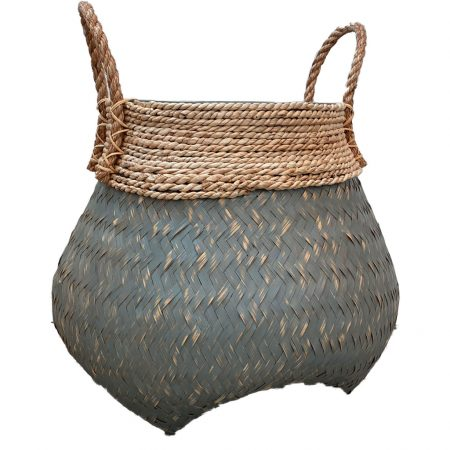 Grey Wash Bamboo Basket