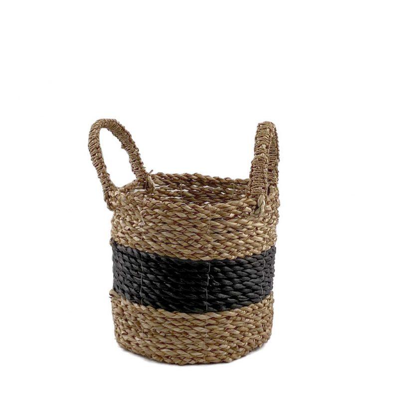Midi Black Stripe Basket Small