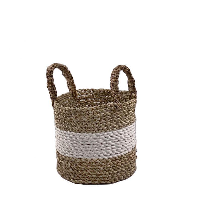 Midi White Strip Small Basket