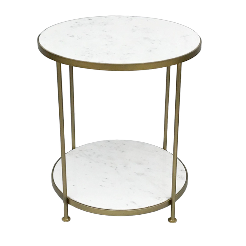 AL-27430 Varina Marble Brass Side Table