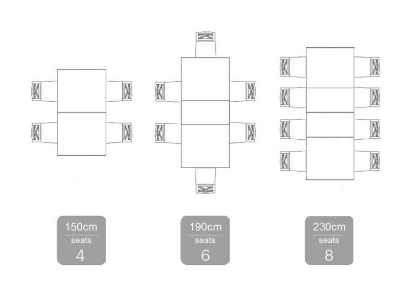 Bellagio Extension Table 150-230 Seating Plan