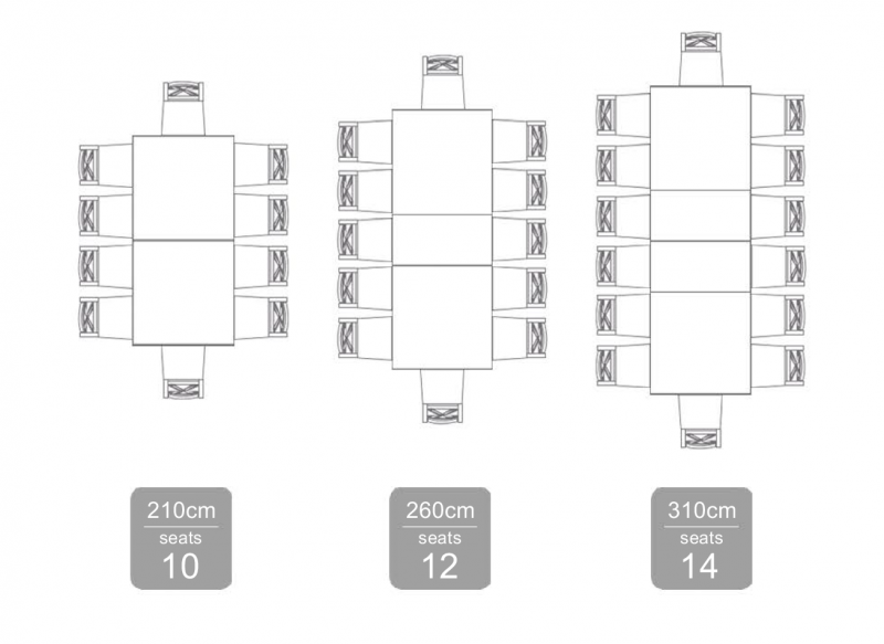 Deauville Extension Table 210-310 Seating Plan