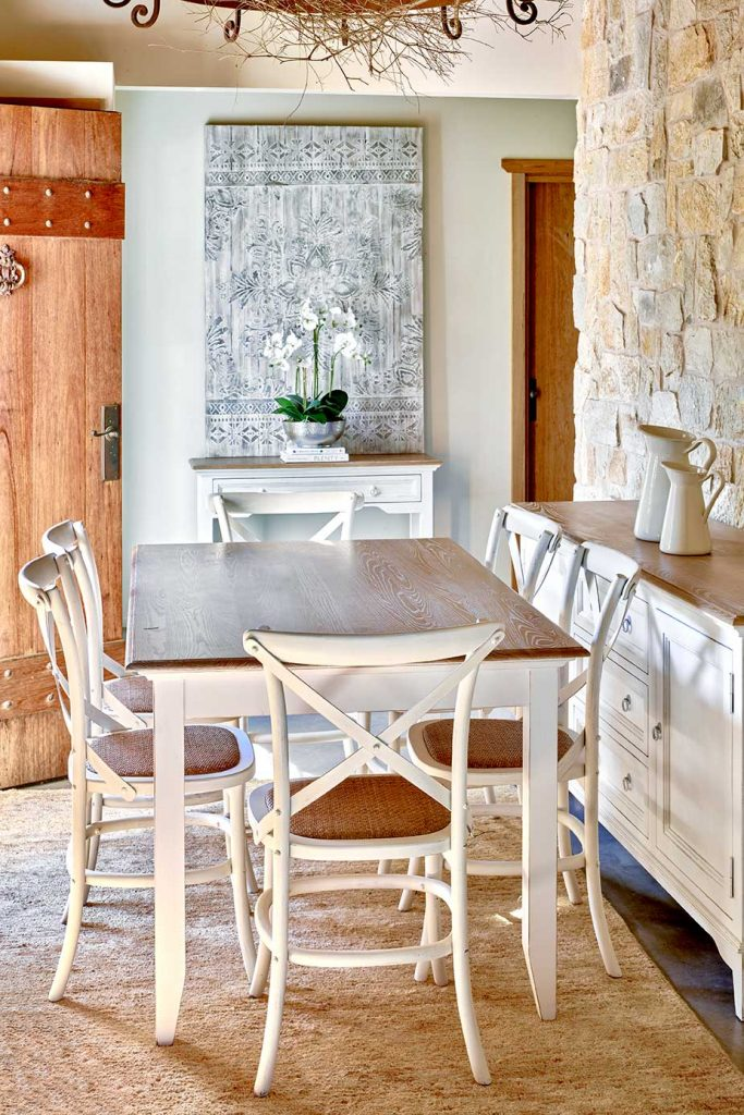 Hamptons 150cm wide dining table & Hamptons cafe chairs with rattan seat