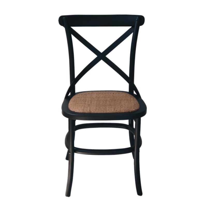 Hamptons black cafe chair rattan seat