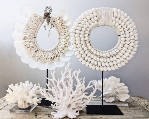 coastal decor Sea shell necklace on stand