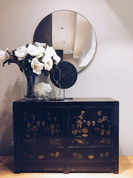 autumn trends styling mirror on buffet