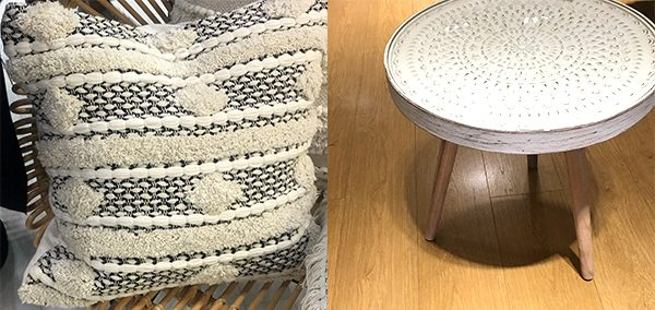 Textured cushions and side tables