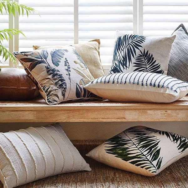 Palm print cushions